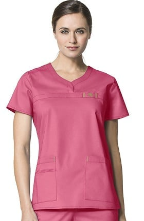 WonderFLEX by WonderWink Women's Patience Curved Notch Solid Scrub Top