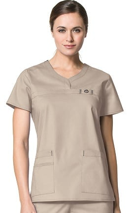 Clearance WonderFlex by WonderWink Women's Patience Curved Notch Solid Scrub Top
