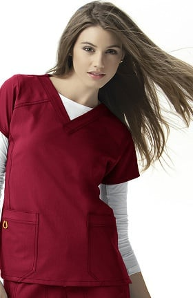 Clearance Four-Stretch by WonderWink Women's Sporty V-Neck Solid Scrub Top