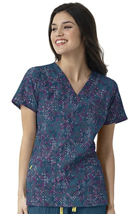 Clearance Four Stretch by WonderWink Women's V-Neck Abstract Print Scrub Top