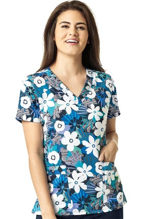 Four Stretch by WonderWink Women's V-Neck Belle Flower Print Scrub Top