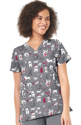 Clearance Four Stretch by WonderWink Women's Fido Fighter Print Scrub Top