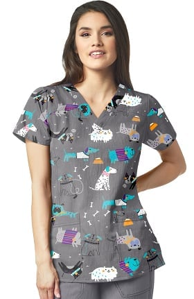 Clearance Four Stretch by WonderWink Women's Puppy Chow Print Scrub Top
