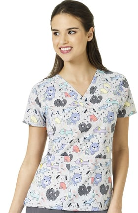 Four Stretch by WonderWink Women's Four-Stretch V-Neck Print Top