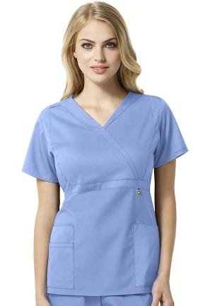 Next by WonderWink Women's Elizabeth Mock Wrap Solid Scrub Top