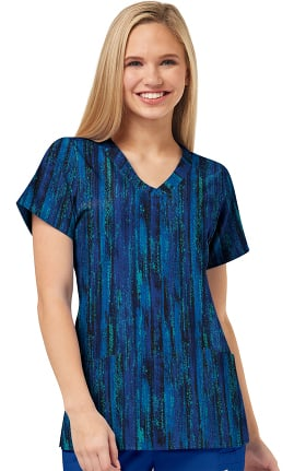 W123 by WonderWink Women's Misty Midnight Print Scrub Top