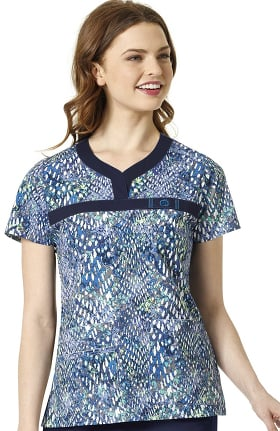 WonderFLEX by WonderWink Women's Y Neck Print Top