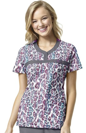 WonderFLEX by WonderWink Women's Y-Neck Animal Print Scrub Top