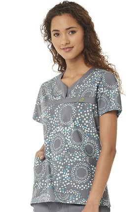 Clearance WonderFLEX by WonderWink Women's Y-Neck Halo Sky Print Scrub Top