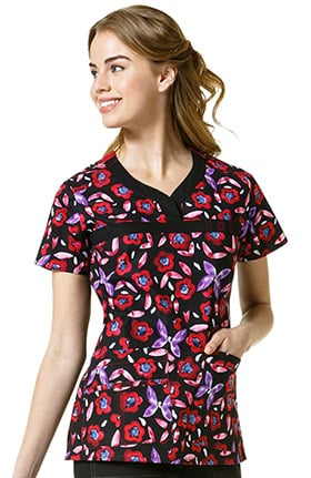 Clearance WonderFLEX by WonderWink Women's Y-Neck Floral Print Scrub Top