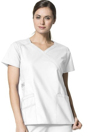 Clearance WonderFlex by WonderWink Women's Charity Y-Neck Solid Scrub Top