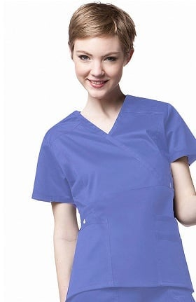 Clearance WonderFLEX by WonderWink Women's Stretch Wrap Solid Scrub Top