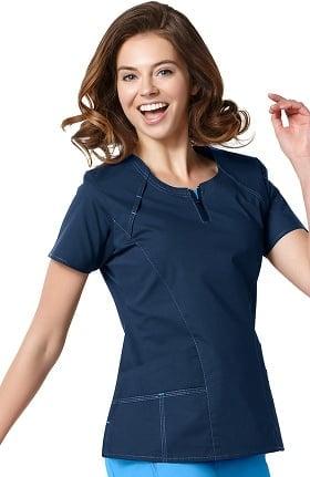 Clearance WonderFLEX by WonderWink Women's Heaven Fashion Zip Solid Scrub Top