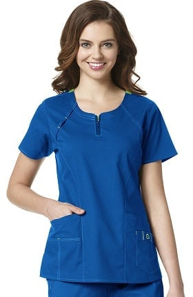 Clearance WonderFLEX by WonderWink Women's Heaven Fashion Zip Solid Scrub Top