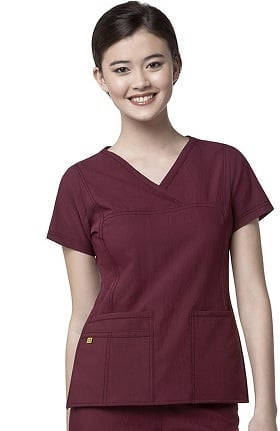 Four-Stretch by WonderWink Women's Y-Neck Solid Scrub Top