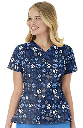 Four Stretch by WonderWink Women's Y-Neck Paw Print Scrub Top