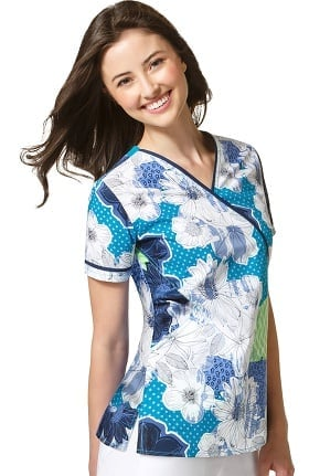 WonderFLEX by WonderWink Women's Mock Wrap Floral Print Scrub Top