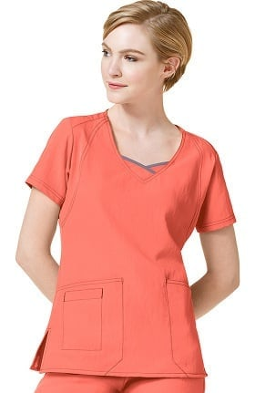 Clearance Four Stretch by WonderWink Women's Double V-Neck Solid Scrub Top