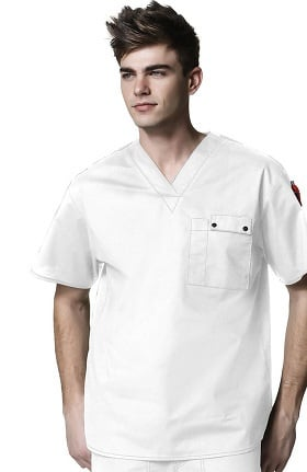 Clearance WonderFlex by WonderWink Men's Honor V-Neck Utility Solid Scrub Top