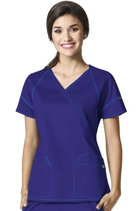 Clearance 7Flex by WonderWink Women's Mock Wrap Solid Scrub Top