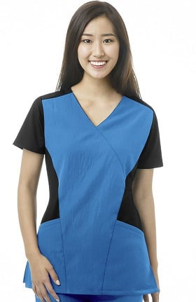 Four Stretch by WonderWink Women's Mock Wrap Solid Scrub Top