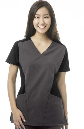 Clearance Four Stretch by WonderWink Women's Mock Wrap Solid Scrub Top