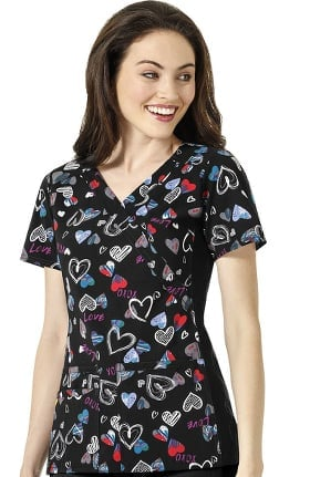 Four Stretch by WonderWink Women's Mock Wrap V-Neck Love is All Around Print Scrub Top