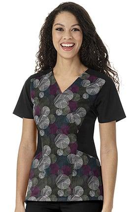 Clearance Four Stretch by WonderWink Women's Mock Wrap Geometric Print Scrub Top