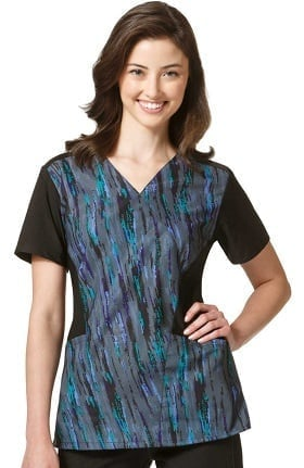 Four Stretch by WonderWink Women's Mock Wrap Abstract Print Scrub Top