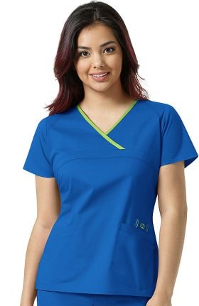 WonderFLEX by WonderWink Women's Charlize Y-Neck Mock Wrap Solid Scrub Top