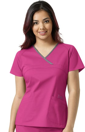 Clearance WonderFlex by WonderWink Women's Charlize Y-Neck Mock Wrap Solid Scrub Top