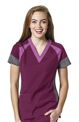 Four Stretch by WonderWink Women's V-Neck Colorblock Solid Scrub Top
