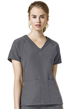 Four Stretch by WonderWink Women's Fashion V-Neck Solid Scrub Top