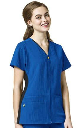Clearance Four Stretch by WonderWink Women's Zip Front Solid Scrub Top