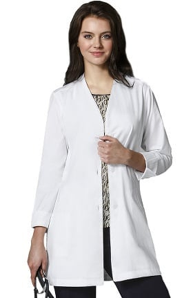 "Clearance Wonderlab by WonderWink Women's Stand Collar 35"" Lab Coat"