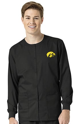 Collegiate by WonderWORK Unisex Snap Front Black Solid Scrub Jacket