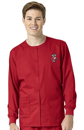 Collegiate by WonderWORK Unisex Snap Front Red Solid Scrub Jacket