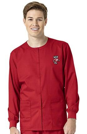 Collegiate by WonderWORK Unisex Snap Front Red Solid Scrub Jacket
