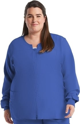 Clearance Four Stretch by WonderWink Women's Button Front Solid Scrub Jacket