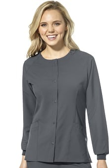 W123 by WonderWink Women's Crew Neck Snap Front Solid Scrub Jacket