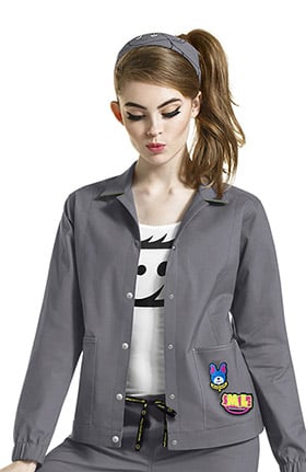 I Love WonderWink Women's Denim Style Solid Scrub Jacket