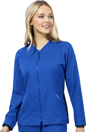 Clearance WonderTECH by WonderWink Women's Zip Front Warm Up Solid Scrub Jacket