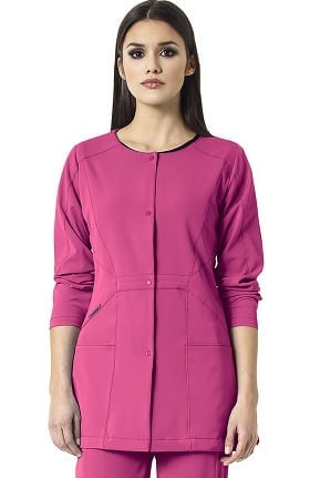 Clearance High Performance by WonderWink Women's Prism Snap Front Solid Scrub Jacket