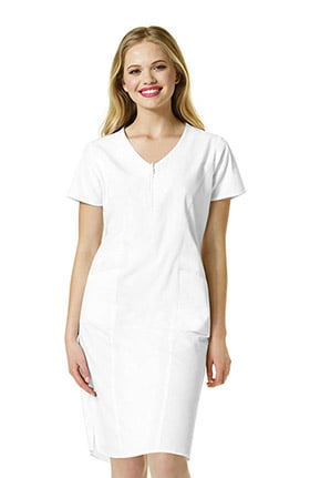 Clearance Origins by WonderWink Women's Whiskey Zip Front Solid Scrub Dress