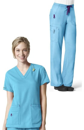 CROSS-FLEX by Carhartt Women's V-Neck Media Solid Scrub Top & Boot Cut Drawstring Cargo Scru