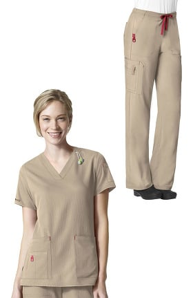 CROSS-FLEX by Carhartt Women's V-Neck Media Solid Scrub Top & Bootcut Drawstring Cargo Scru