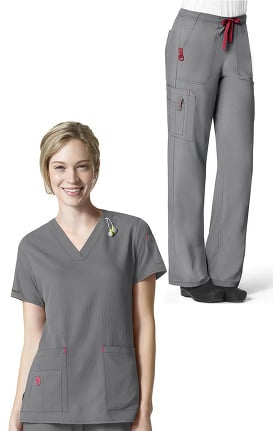 CROSS-FLEX by Carhartt Women's V-Neck Media Solid Scrub Top & Boot Cut Drawstring Cargo Scrub