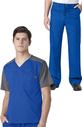 Ripstop by Carhartt Men's Utility V-Neck Colorblock Solid Scrub Top & Drawstring Zip Fly Ca