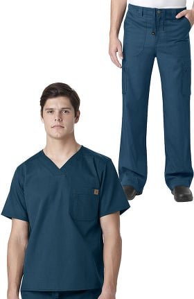 Ripstop by Carhartt Men's Utility V-Neck Solid Scrub Top & Drawstring Zip Fly Cargo Scrub P