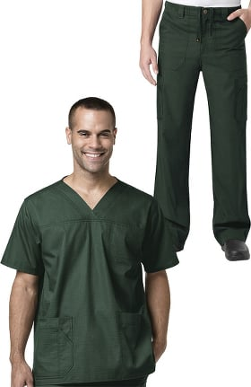 Ripstop by Carhartt Men's V-Neck Multi Pocket Solid Scrub Top & Drawstring Zip Fly Cargo Sc